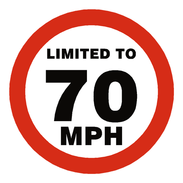 70 MPH Speed Limit Sticker - Safety-Label.co.uk