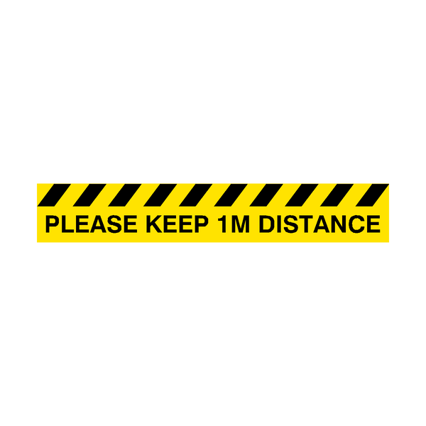 Please Keep 1M Distance Floor Graphics Strip | Safety-Label.co.uk
