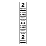 2 Metre Distance Floor Marking Strip - Black | Safety-Label.co.uk