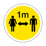 1 Metre Gap Floor Sticker - Yellow | Safety-Label.co.uk