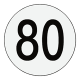Reflective 80 Kph Speed Limit Sticker International | Safety-Label.co.uk