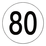 80 Kph Speed Limit Sticker International - Safety-Label.co.uk