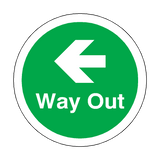 Way Out Left Arrow Floor Marker Sticker | Safety-Label.co.uk