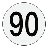 Reflective 90 Kph Speed Limit Sticker International | Safety-Label.co.uk