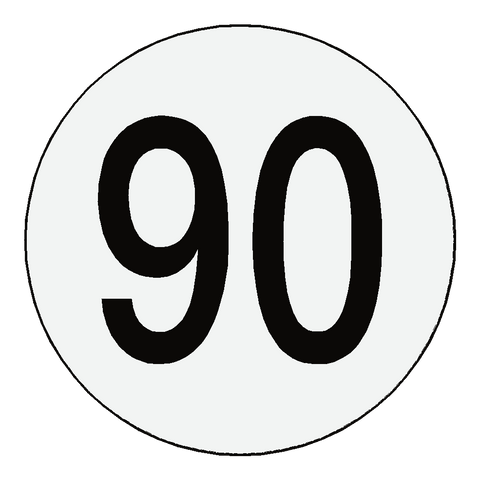 Reflective 90 Kph Speed Limit Sticker International - Safety-Label.co.uk