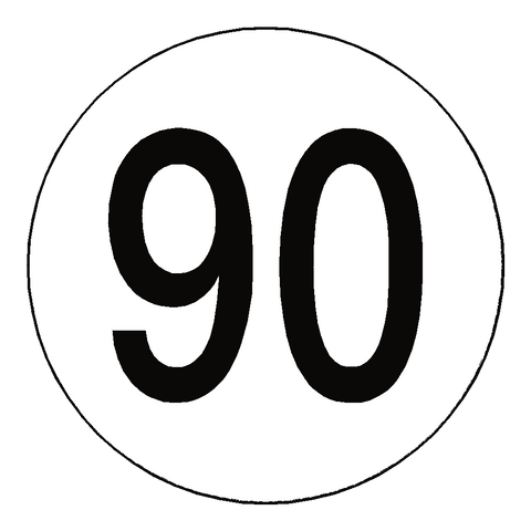90 Kph Speed Limit Sticker International - Safety-Label.co.uk