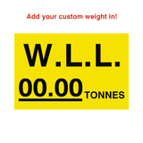 W.L.L Sticker Tonnes Yellow Custom Weight | Safety-Label.co.uk