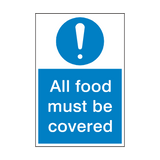 All Food Must Be Covered Sign | Safety-Label.co.uk