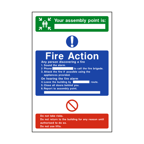 Assembly Point Fire Action Sticker - Safety-Label.co.uk