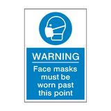 Face Masks Must Be Worn Past This Point Sign | Safety-Label.co.uk