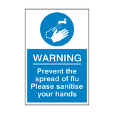 Prevent The Spread Of Flu Sign | Safety-Label.co.uk