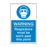 Respirators Must Be Worn Past This Point Sticker | Safety-Label.co.uk