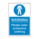 Protective Clothing Must Be Worn Sticker | Safety-Label.co.uk