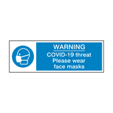 COVID-19 Threat - Please Wear Face Mask Safety Sign | Safety-Label.co.uk
