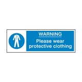 Protective Clothing Must Be Worn Safety Sign | Safety-Label.co.uk