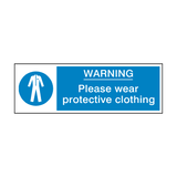 Protective Clothing Must Be Worn Label | Safety-Label.co.uk