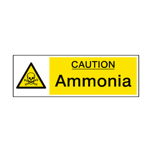Caution Ammonia Hazard Sign - Safety-Label.co.uk