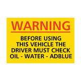 Check Oil, Water and AdBlue Sticker | Safety-Label.co.uk