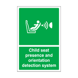 Child Seat Presence & Orientation Detection System Sign | Safety-Label.co.uk