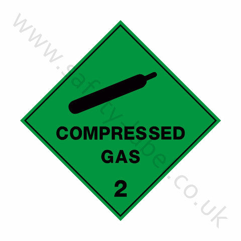 Compressed Gas 2 Sign - Safety-Label.co.uk