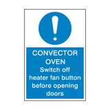 Convector Oven Safety Sign | Safety-Label.co.uk