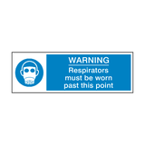 Respirators Must Be Worn Past This Point Label | Safety-Label.co.uk