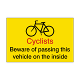 Cyclists Beware Vehicle Sticker - Safety-Label.co.uk