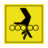 Danger Hand Between Rollers Label | Safety-Label.co.uk