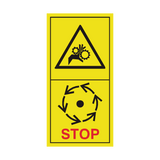 Danger Of Chains & Gearbox - Wait Until Parts Have Stopped Sticker | Safety-Label.co.uk