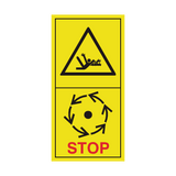 Danger Of Rotating Shaft - Wait Until Parts Have Stopped Moving Sticker | Safety-Label.co.uk