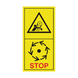 Danger Of The Belt Drive - Wait Until Parts Have Stopped Moving Sticker | Safety-Label.co.uk