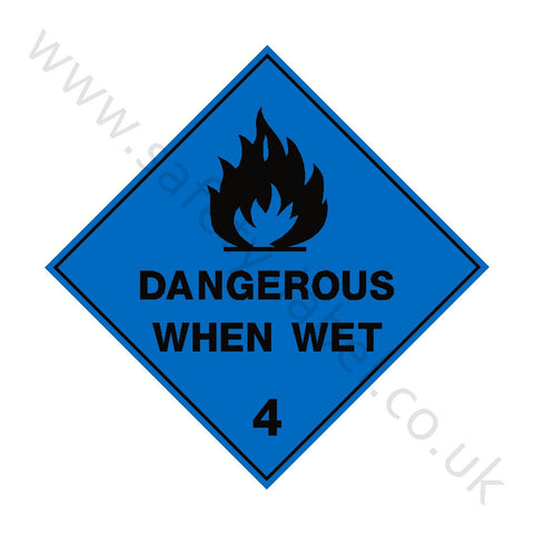 Dangerous When Wet 4 Sign - Safety-Label.co.uk