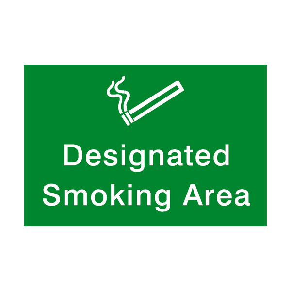 designated Smoking Area Landscape sticker - Safety-Label.co.uk