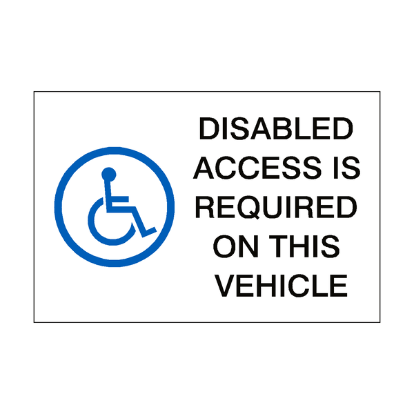 Disabled Access Sticker - Safety-Label.co.uk