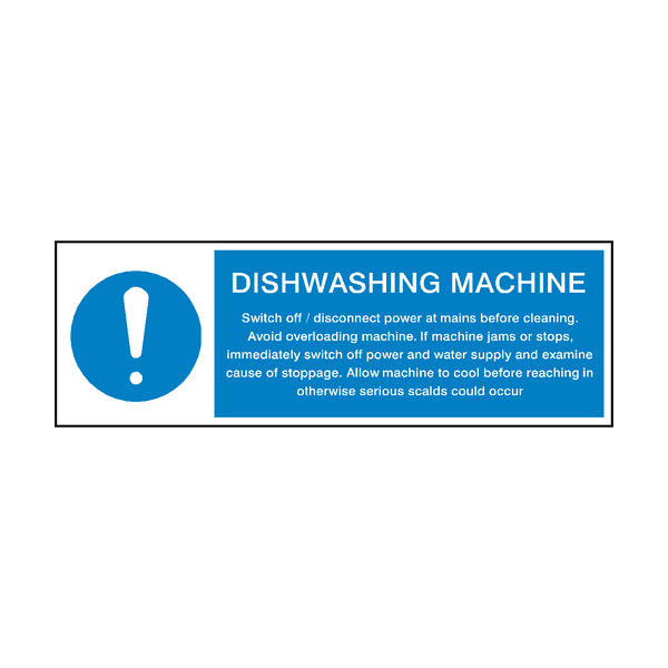 Dishwashing Machine Instructions Hygiene Sign - Safety-Label.co.uk