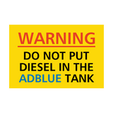 Do Not Put Diesel In AdBlue Tank Sticker | Safety-Label.co.uk