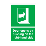 Door Opens By Pushing On The Right-hand Side Sticker | Safety-Label.co.uk