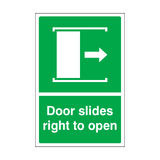 Door Slides Right To Open Sticker | Safety-Label.co.uk