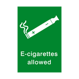 E-Cigarettes Allowed Sign | Safety-Label.co.uk