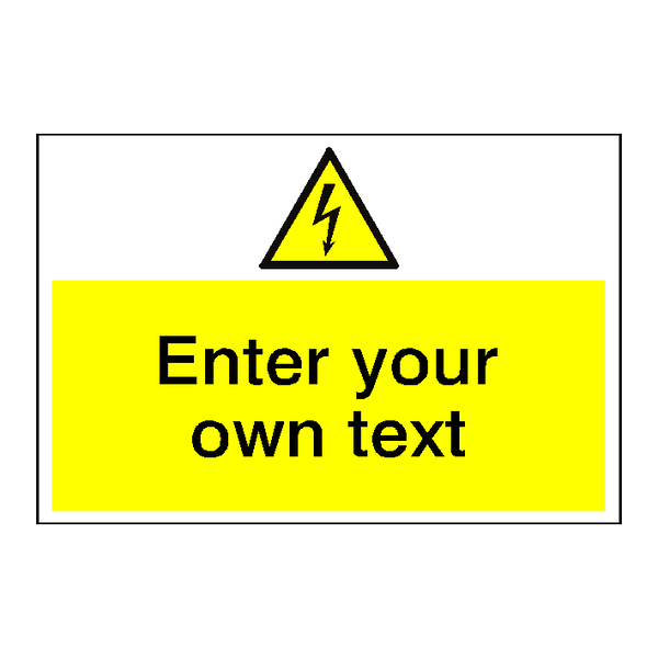 Electrical Safety Sign Custom Landscape | Safety-Label.co.uk