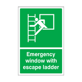 Emergency Window With Escape Ladder Sticker | Safety-Label.co.uk