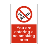 Entering No Smoking Area sticker - Safety-Label.co.uk
