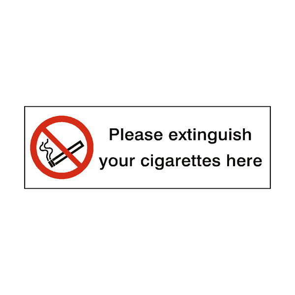 Extinguish Cigarettes Here sticker - Safety-Label.co.uk