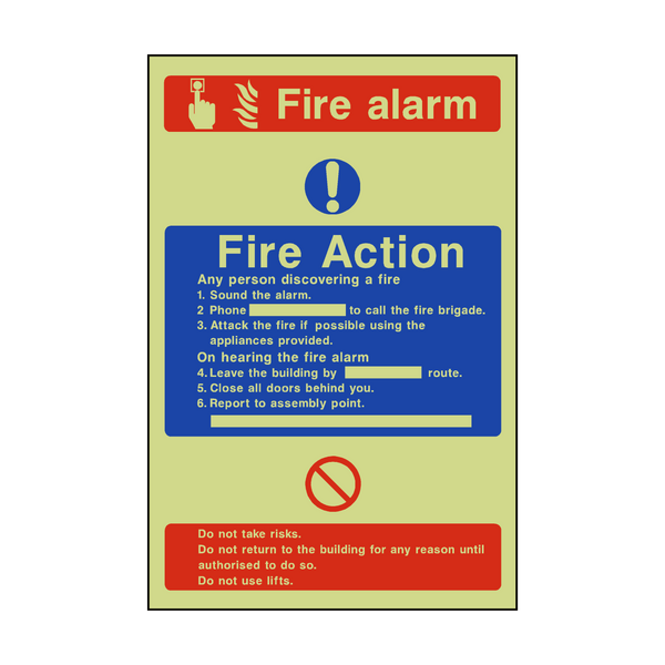 Fire Action Fire Alarm Photoluminescent Sticker - Safety-Label.co.uk