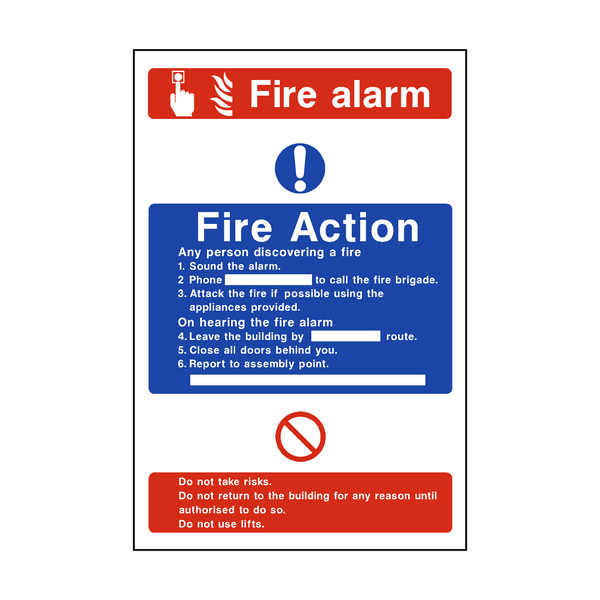 Fire Action Fire Alarm Sticker - Safety-Label.co.uk
