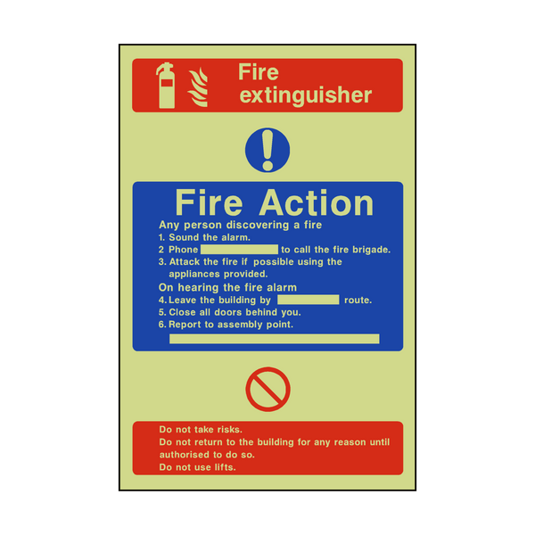 Fire Action Fire Extinguisher Photoluminescent Sticker - Safety-Label.co.uk