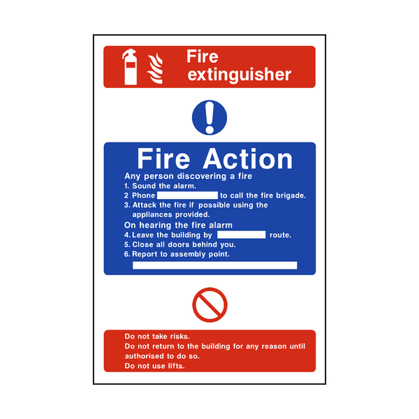 Fire Action Fire Extinguisher Sticker | Safety-Label.co.uk