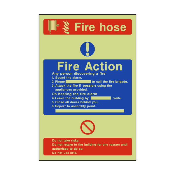Fire Action Fire Hose Photoluminescent Sticker | Safety-Label.co.uk