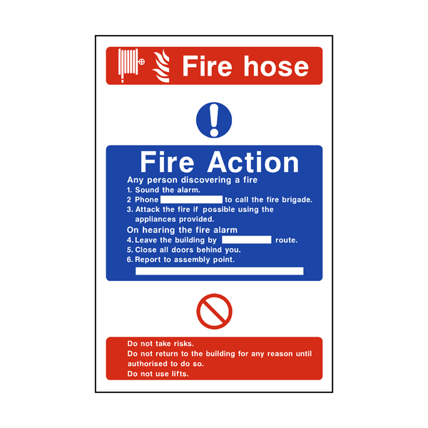 Fire Action Fire Hose Sticker - Safety-Label.co.uk