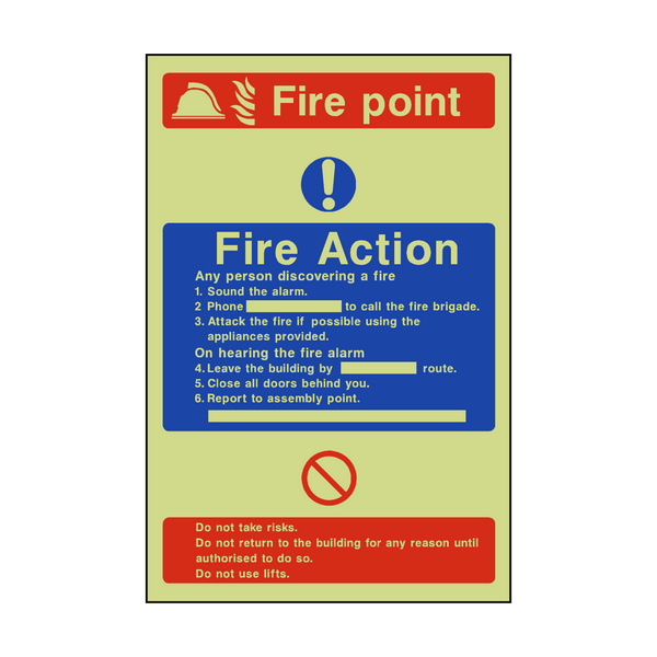 Fire Action Fire Point Photoluminescent Sticker | Safety-Label.co.uk